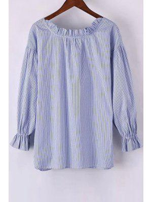 Sweet Striped Round Neck Long Sleeve Blouse - Light Blue Xs