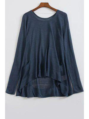 Loose High-Low Round Neck Long Sleeve Sweater - Cadetblue