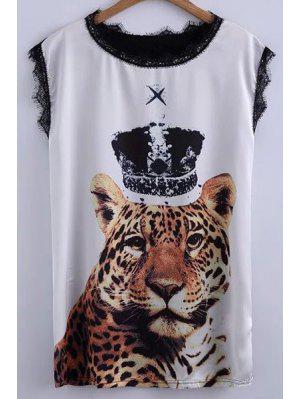 Detalle De Tigre De Impresión Del Cordón De La Camiseta - Blanco Y Negro Xl