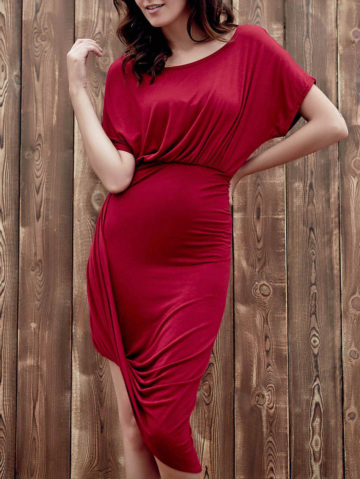 Robe rouge élégant col bateau manches Batwing Asymétrique Minceur vin pour les femmes