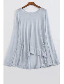 Loose High-Low Round Neck Long Sleeve Sweater - Light Blue