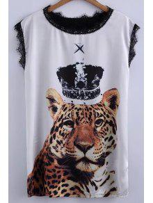 Tiger Print Lace Detail T-Shirt - White And Black Xl