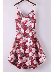 Buy Fitting Floral Print Spaghetti Straps Sleeveless Dress - RED L