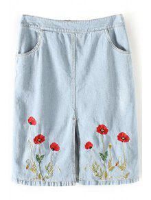 Floral Embroidery Straight Denim Skirt - Light Blue S