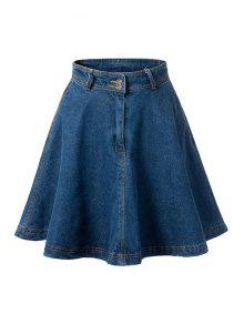 Deep Blue Flare High Waist Denim Skirt - Deep Blue Xl