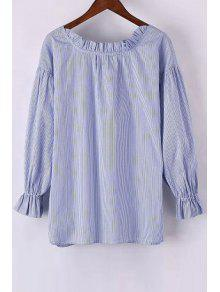 Sweet Striped Round Neck Long Sleeve Blouse - Light Blue L