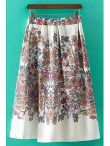 Sweet Floral Print Irregular High Waist Skirt - White L