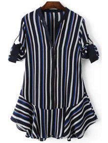 Striped Hit Color V Neck 3/4 Sleeve Dress - Purplish Blue L