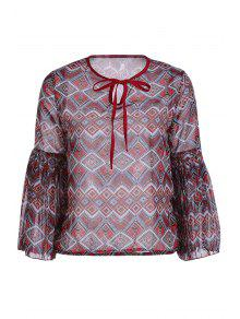 Ethnic Print Long Sleeve Chiffon Blouse - Brick-red