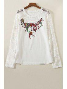 Lace Spliced Round Collar Long Sleeve Printed T-Shirt - White L