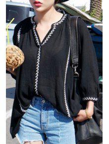 Contrastant Broderie Lâche Shirt - Noir