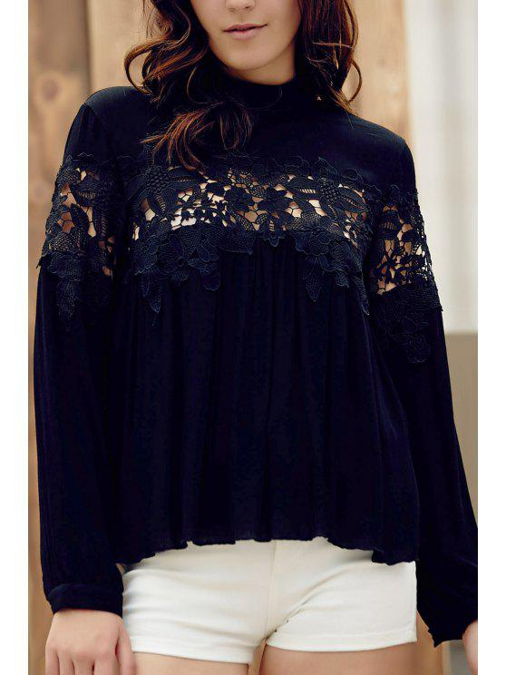 lady Lace Spliced Stand Collar Long Sleeve Black Blouse - BLACK L