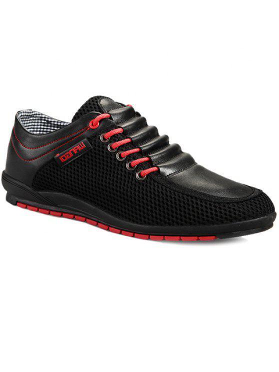 المألوف الربط و اللون كتلة تصميم أحذية عادية للرجال - أسود 44