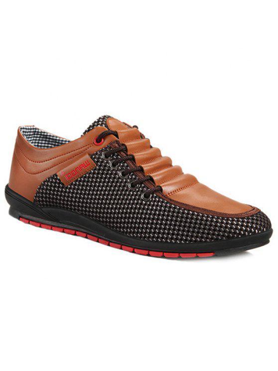 المألوف الربط و اللون كتلة تصميم أحذية عادية للرجال - بنى 44