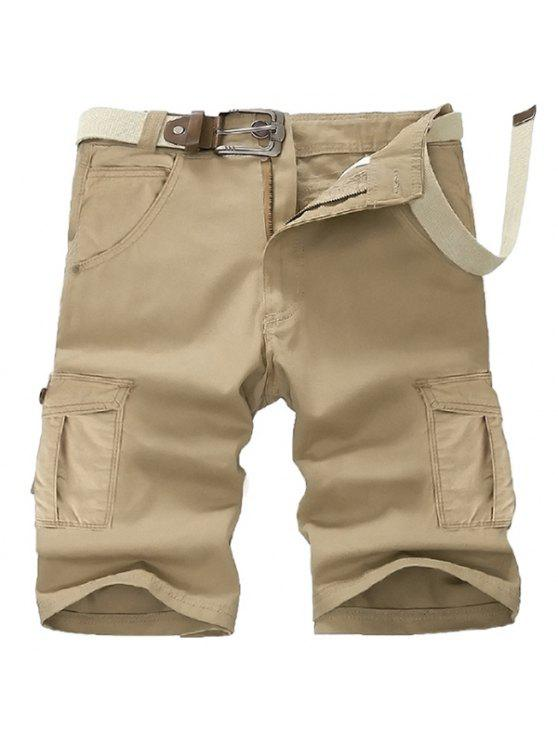 shops Casual Straight Leg Stereo Pocket Slimming Zipper Fly Cargo Shorts For Men - KHAKI 36