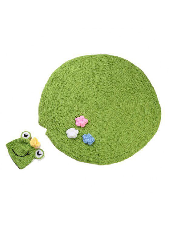 High Quality Handmade Crochet Knit Cap Green Frog Hat+Lotus Leaf Blanket  Baby Costume Set - Green d602b447cb
