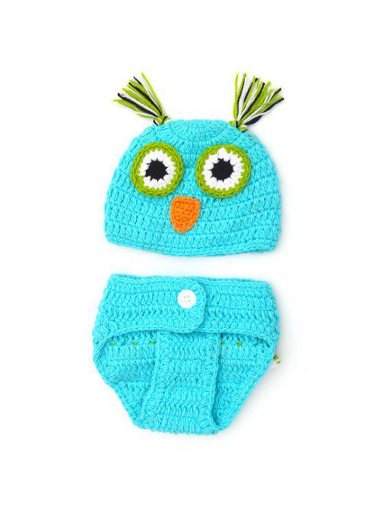 شيك الجودة الوليد الصوف الحياكة البومة تصميم الطفل زي قبعة + السراويل الدعاوى - أزرق