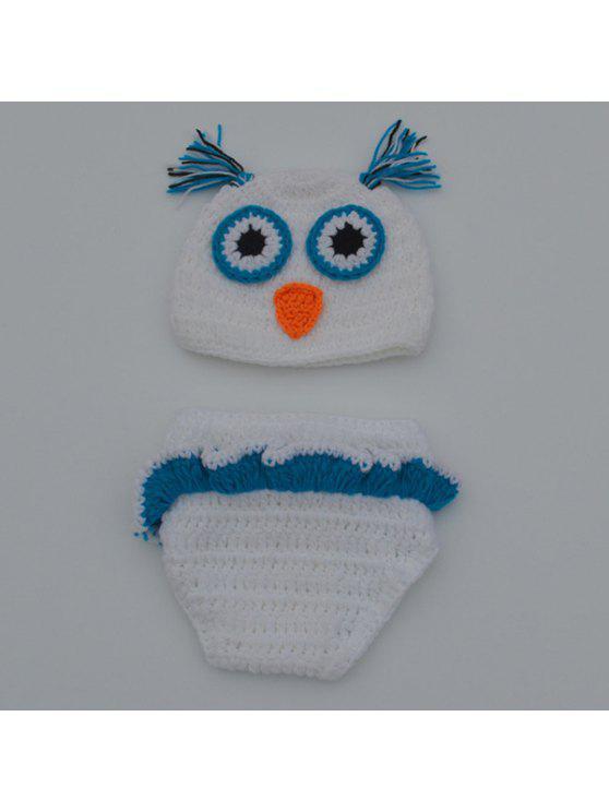شيك الجودة الوليد الصوف الحياكة البومة تصميم الطفل زي قبعة + السراويل الدعاوى - أبيض