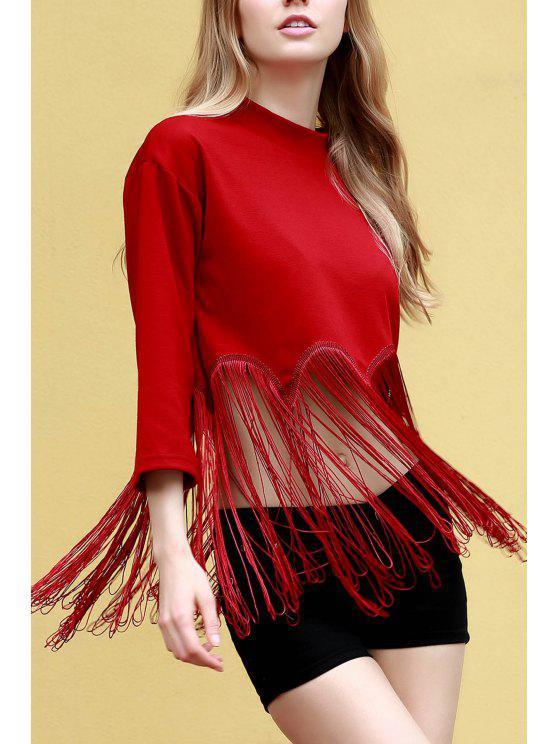 latest Tassels Spliced Stand Neck 3/4 Sleeve T-Shirt - RED 2XL