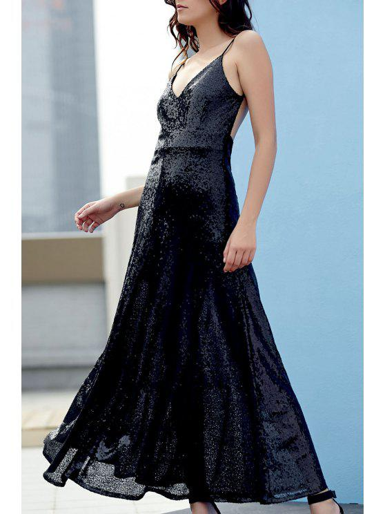 hot Backless Sequins Spaghetti Strap Maxi Dress - BLACK L