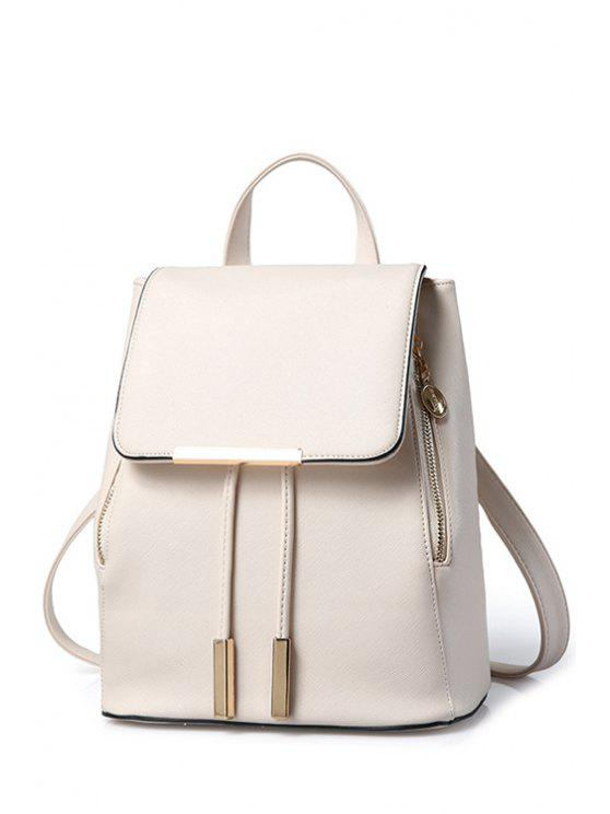 fashion Cover Metal Solid Color Satchel - OFF-WHITE
