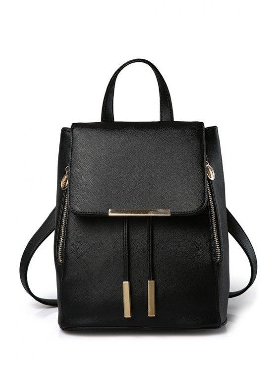 trendy Cover Metal Solid Color Satchel - BLACK