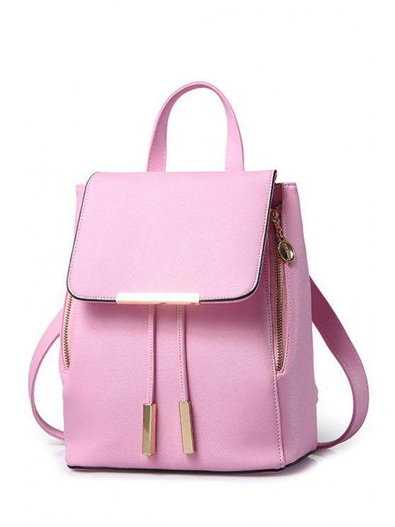 fancy Cover Metal Solid Color Satchel - PINK