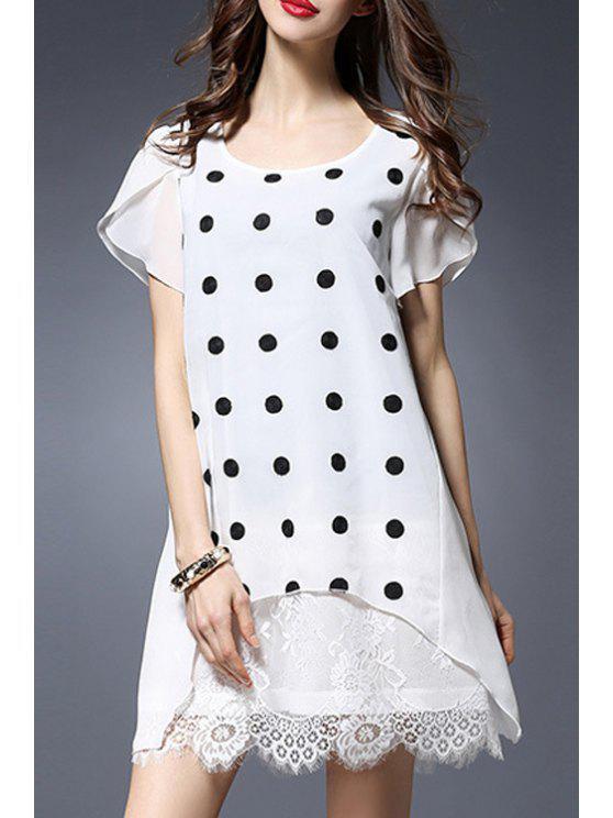 24a404ba47 Collar de bolinhas Rodada de manga curta vestido de renda emendado - Branco  5XL