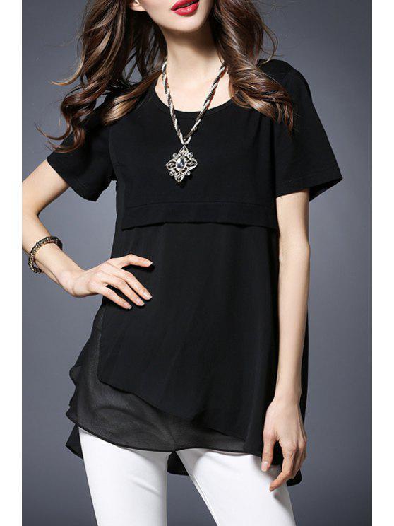 Gasa empalmado de cuello redondo manga corta de la camiseta - Negro 2XL