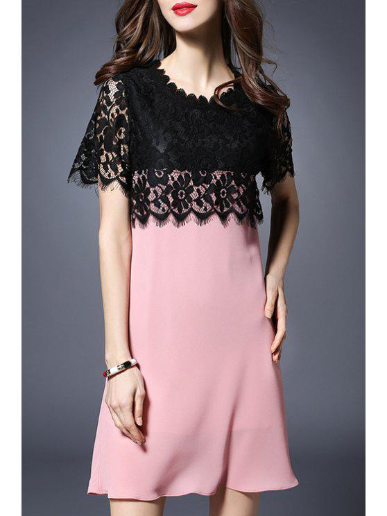 fashion Lace Spliced Round Collar Short Sleeve Dress - BLACK AND PINK 2XL