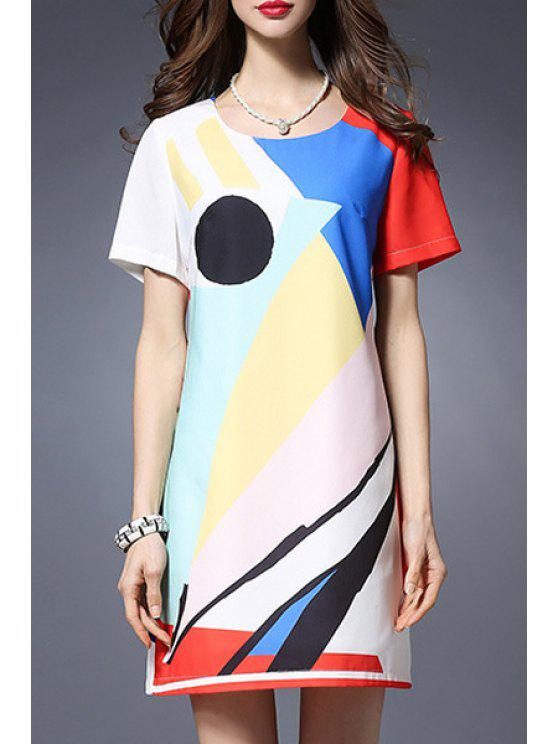 hot Color Block Round Neck Short Sleeve Dress - COLORMIX 5XL