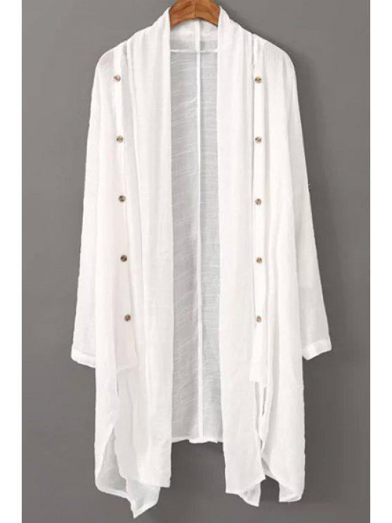 outfits Vintage Solid Color Collarless Long Sleeve Blouse - WHITE ONE SIZE(FIT SIZE XS TO M)