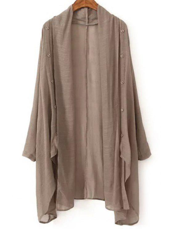 outfit Vintage Solid Color Collarless Long Sleeve Blouse - KHAKI ONE SIZE(FIT SIZE XS TO M)