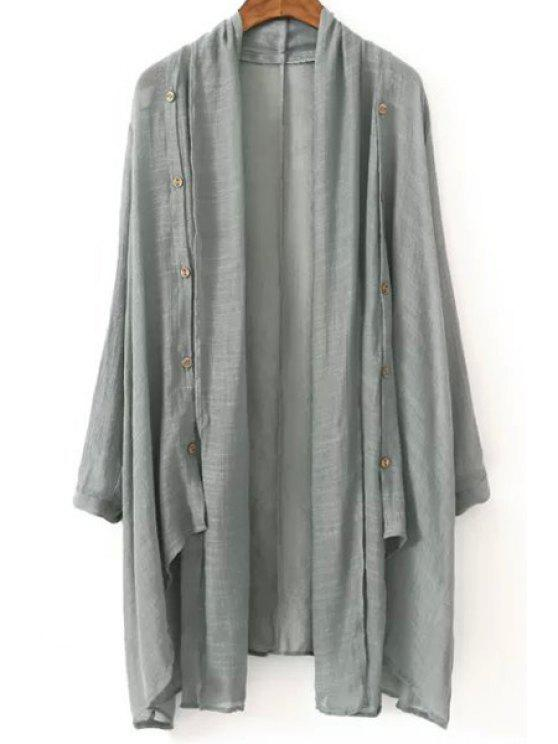 best Vintage Solid Color Collarless Long Sleeve Blouse - GRAY ONE SIZE(FIT SIZE XS TO M)