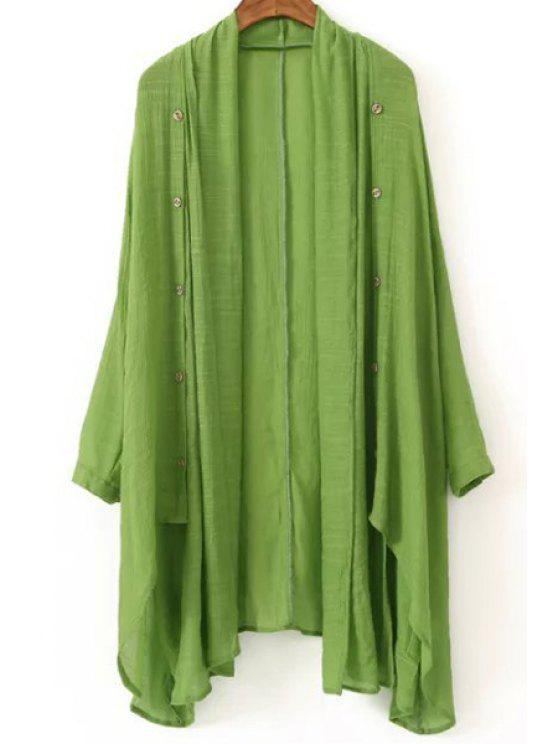 lady Vintage Solid Color Collarless Long Sleeve Blouse - GREEN ONE SIZE(FIT SIZE XS TO M)