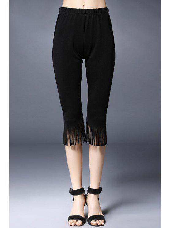 latest Tassels Spliced Solid Color Capri Pants - BLACK 5XL