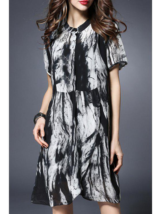 affordable Printed Short Sleeve Loose Fitting Dress - BLACK 5XL