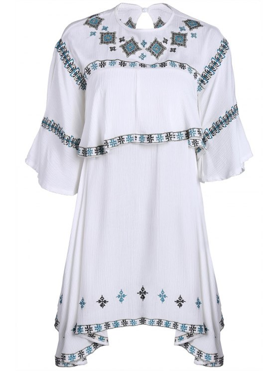 chic Embroidery Round Collar Half Sleeve T-Shirt - WHITE ONE SIZE(FIT SIZE XS TO M)