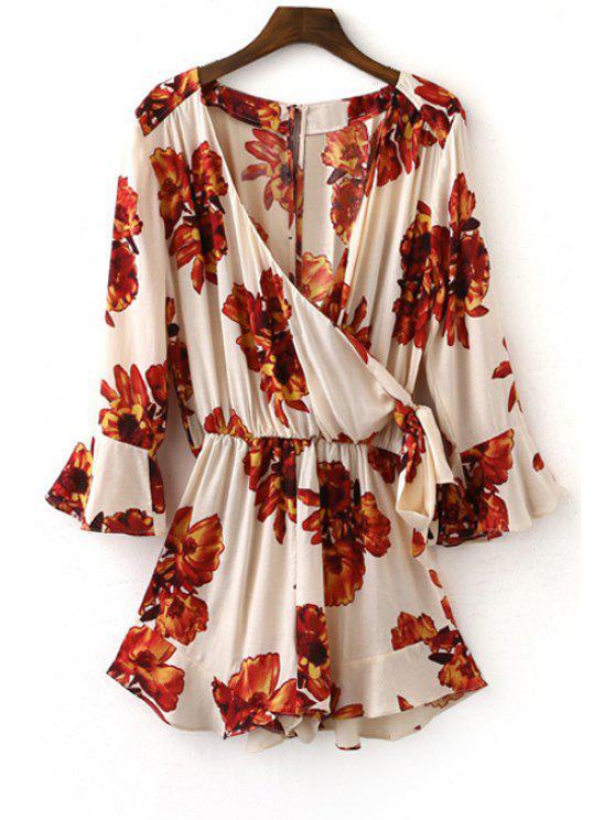 buy Flower Print Plunging Neck Lartern Sleeve Romper - WHITE M