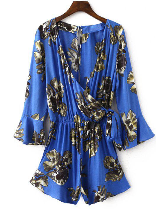Combinaison imprimée florale à col plongeant à manches lanterne - Bleu Saphir S