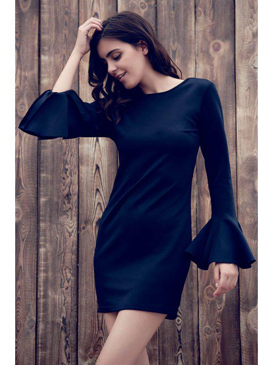 womens Flare Sleeve Low Back Bodycon Dress - BLACK L