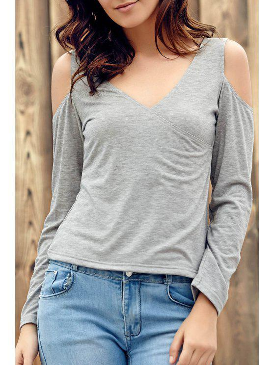 hot Deep V Neck Cut Out T-Shirt - LIGHT GRAY 3XL
