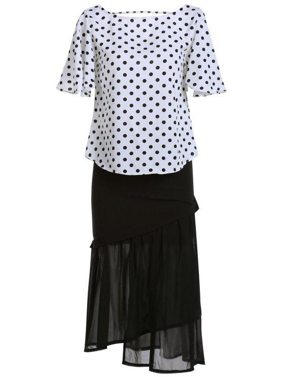 latest Polka Dot T-Shirt and Mermaid Skirt Twinset - WHITE AND BLACK ONE SIZE(FIT SIZE XS TO M)