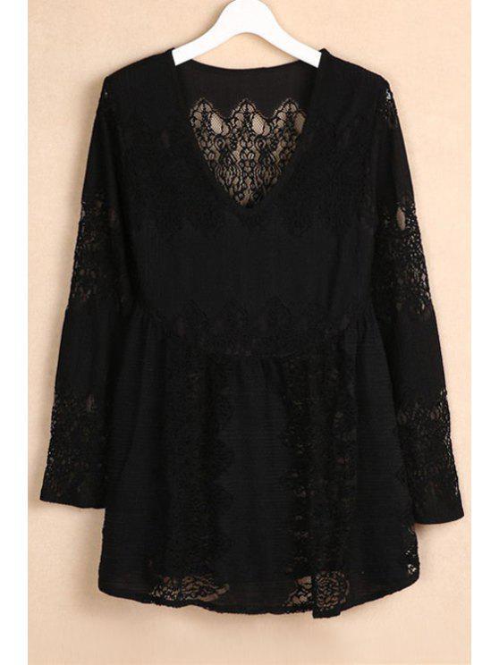 latest V-Neck Bell Sleeve Lace Dress - BLACK M