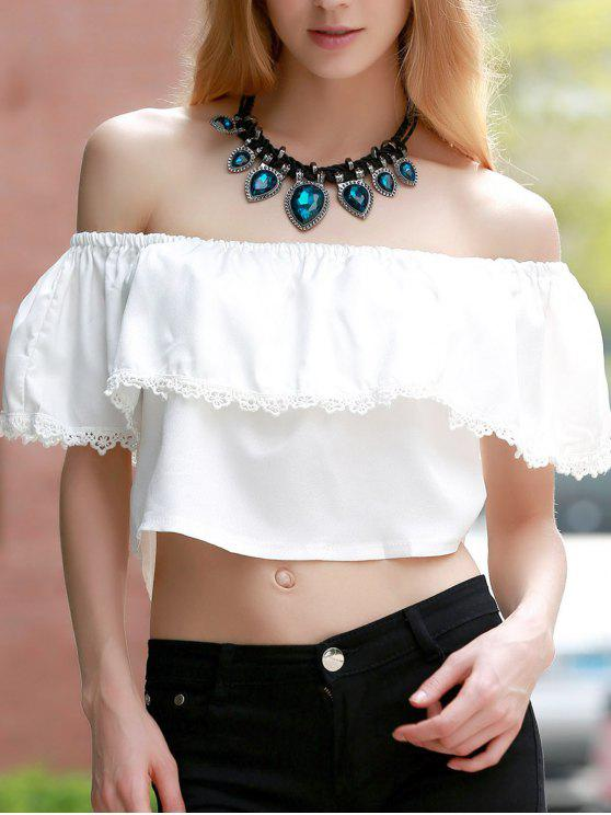 hot Off the Shoulder Flounced Top - WHITE L