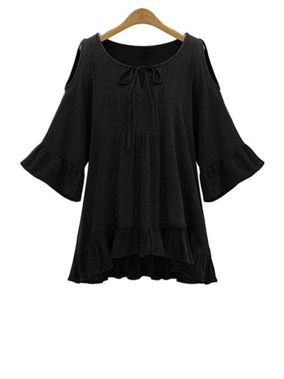Rüscherands Cut-Out-Bluse - Schwarz 5XL