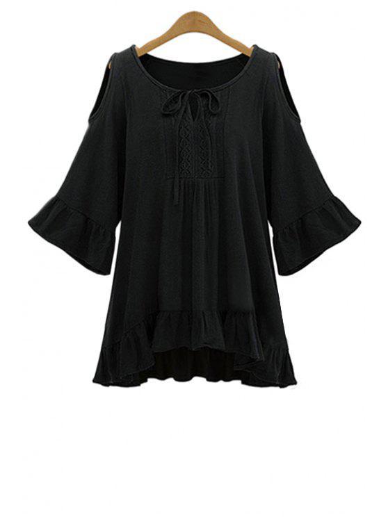 chic Ruffle Hem Cut-Out Blouse - BLACK 5XL