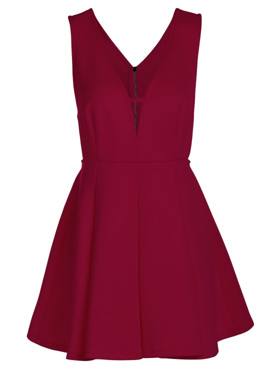 online Solid Color Plunging Neck Sleeveless Flare Dress - CLARET L