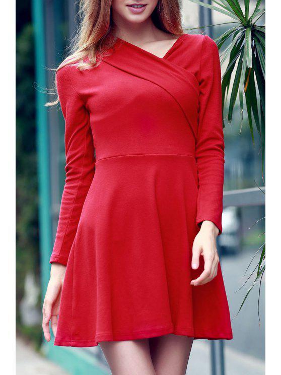 Manga del color sólido del vestido largo cruzadas - Rojo M