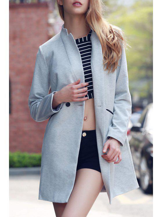 lady Solid Color Stand Collar Long Sleeve Coat - LIGHT GRAY 2XL